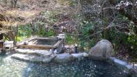 露天風呂と桜